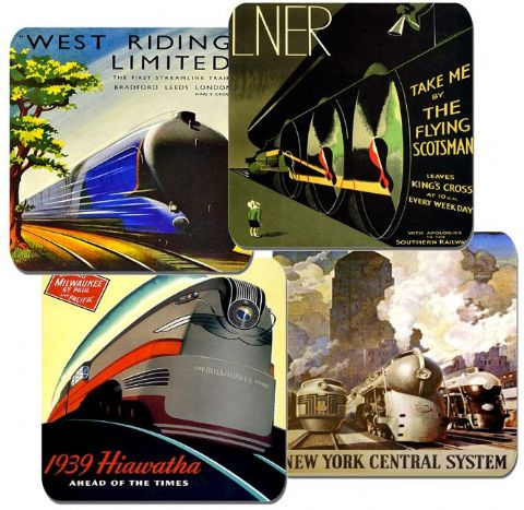 Art Deco Railway Locomotive Poster Coasters Set Of 4. High Quality Cork. Train